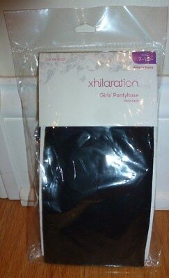 BNIP Xhilaration brand girls black tights size 7-10 (2 pairs)