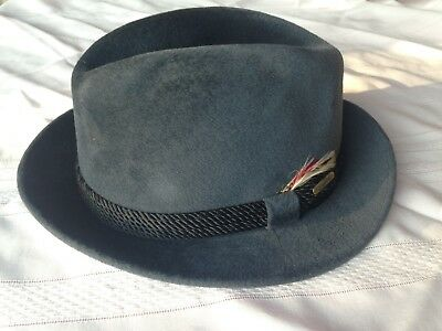 Vintage Borsalino Antica Casa Fedora Men's Hat 7 5/8 Dark Gray