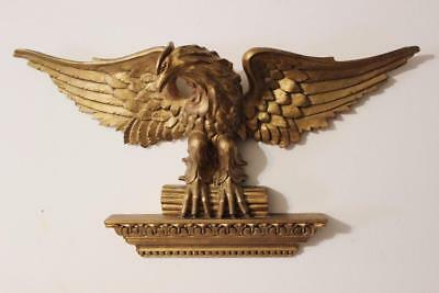 antique carved Gilt Wood large Federal Eagle on Ledge wooden Wall Plaque Italy