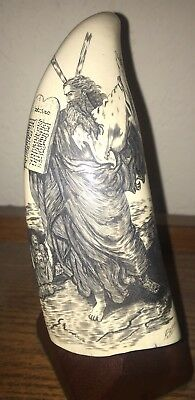 Faux Whale Tooth Scrimshaw Moses Bible Scene Signed Ten Commandments Carved Art