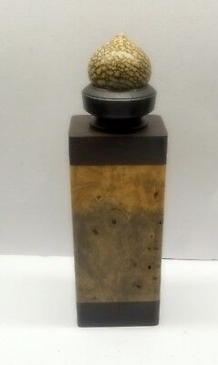 Jon Sauer, Gilmer Wood Co. Hand Turned Exotic Burl Wood Container & Scent Bottle