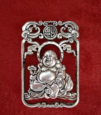 Chinese Collectible Handwork Old miao silver carving Maitreya Buddha pendant