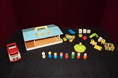 Vintage 1978 Fisher Price Little People #929 NURSERY SCHOOL~Bus~Furniture~MORE!