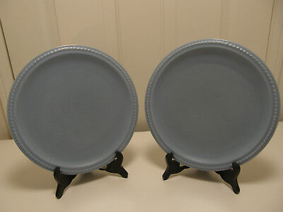 Two Authentic Catalina Island Pottery Rope edge Plates, Blue w/ mat finish