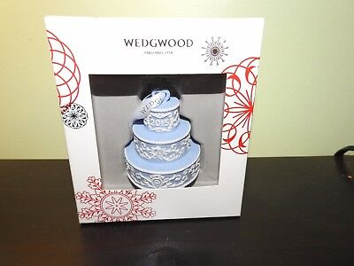 """WEDGWOOD 2015 """"Our First Christmas Together"""" BLUE Wedding Cake ORNAMENT"""