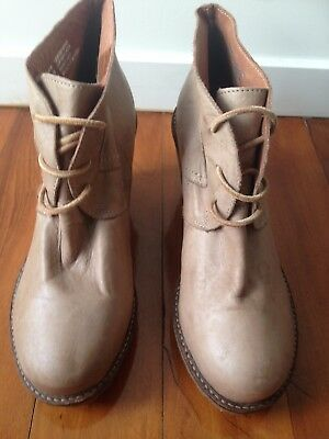 EOS Nude Tan Leather Wedges / Heels / Booties - Never worn - Size 8