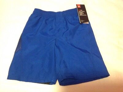 New With Tags Under Armour Boys Blue Size 6 Lined Swim Trunks $27