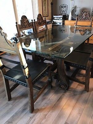 Vintage Mid Century 70's Dining Room Set Glass Top, Mid Evil Style base 6 chairs
