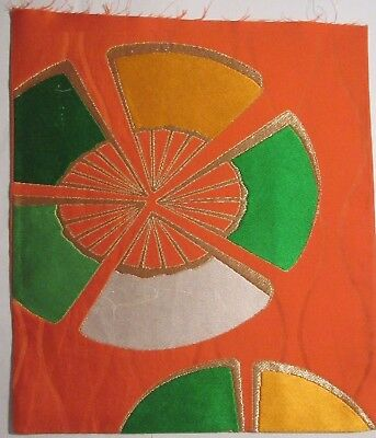 """Colorful Wheel Gold Accents Embroidered Vtg OBI Silk Fabric Japan 13"""" ~NR 8447"""