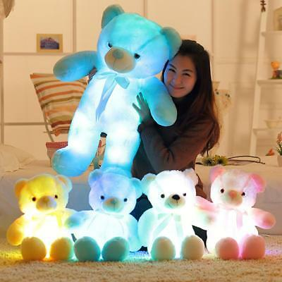 BOOKFONG  Light Up LED Teddy Bear Stuffed Animals Plush Toy Multicolor New