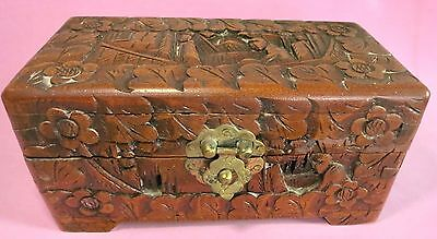 Vintage Oriental Asian Deep Carved Wood Wooden Jewelry Do Dad Box Floral People