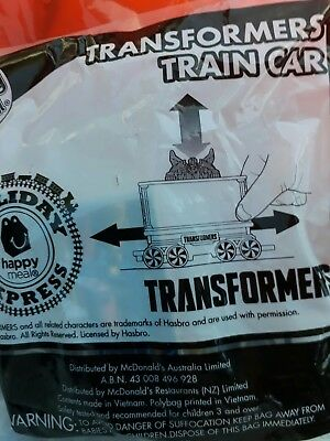 """McDonalds Happy Meal Toy Holiday Express """"TRANSFORMERS"""" TRAIN CAR BRAND NEW"""
