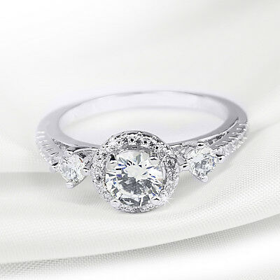 Womens 0.75 CT Vintage Engagement Promise RING White Gold Plated Size 5-9