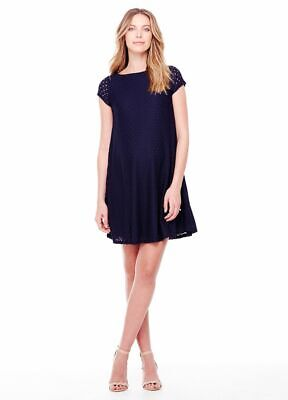 New Ingrid & Isabel Maternity Sophisticated Navy Stretch Lace Swing Dress S 4 6