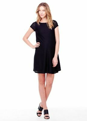 New Ingrid & Isabel Maternity Sophisticated Black Stretch Lace Swing Dress S 4 6