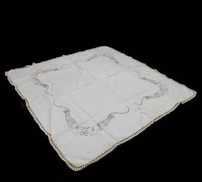 Vintage cream embroidered flower square lace trim supper cloth tablecloth 88cm