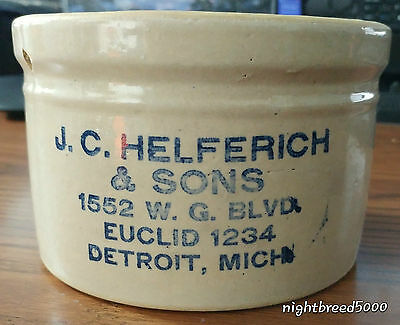 """5.75"""" Wide Advertising Butter Stoneware Crock from Detroit, Michigan - Rare"""