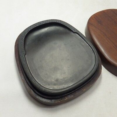 D878 Chinese calligraphy tool ink stone with good sculpture work and wooden case