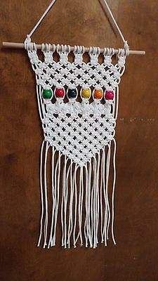 White Macrame Wall Hanging with multi color Beads NEW!