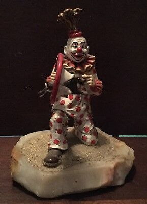 RON LEE Clown Figurine DOG ACT Jumping Hoop Signed 84 red polka dots heavy