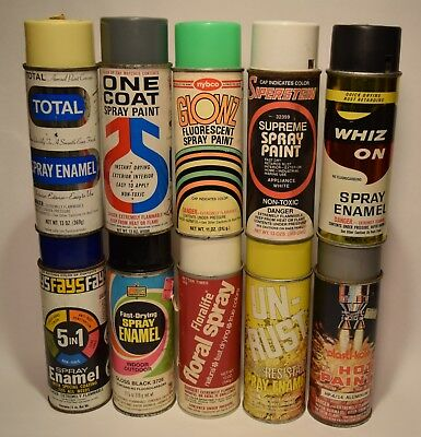 10 Misc VTG  Spray Paint Cans Nybco Sipersteins Floralife Plastikote Whiz On