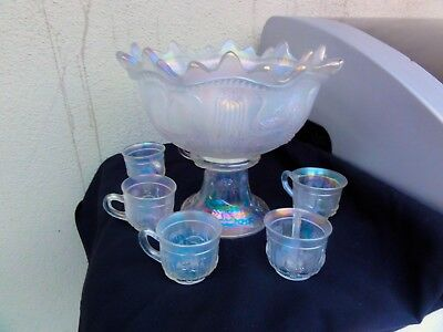 Northwood White Peacock At The Fountain 8 - Piece Punch Set - HTF