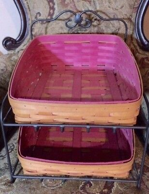 Longaberger Wrought Iron Stand with 2 Tapered PINKPaperTray Bin Baskets