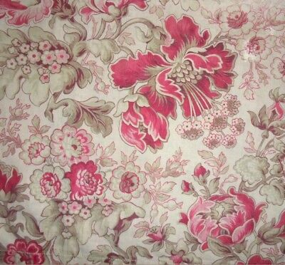 "Antique French 19thC Darned Floral Print Cotton Fabric 20""x 15"""
