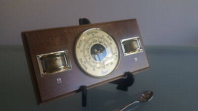 Aneroid Barometer With Hygrometre, And Thermometer. With Mitsubishi Logo.