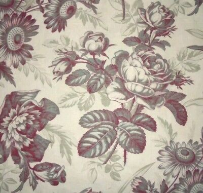 "Mid 19thC Antique French Linen & Cotton Floral Roses Toile Print Fabric W32""xL12"