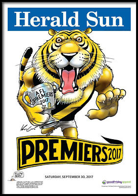 (Framed) Richmond Tigers 2017 POSTER (50x70cm) Afl Premiership Herald Sun Knight