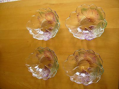Set Of 4 Never Used Fluted Colored Small Glass Bowls