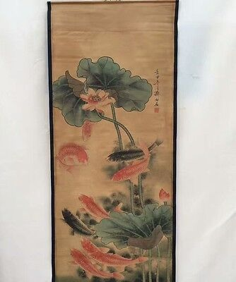 Collectible Old superb Chinese long Scroll Painting lotus leaf Flower & goldfish