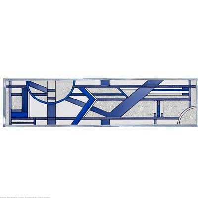 Deco Blue Painted Glass Panel R-191