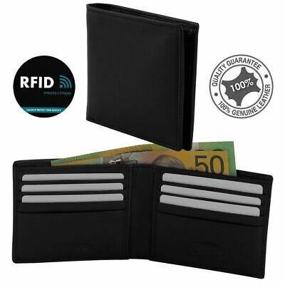RFID Men's Genuine Full Grain Cowhide Premium Leather Slim Wallet 8 Cards Slot
