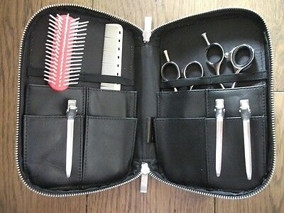 Black Genuine Leather Stylist Hairdressing Salon Scissor Brush Comb Case Holster