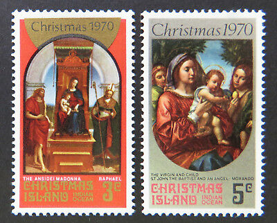 1970 Christmas Island Stamps - Christmas - Madonna/Virgin & Child Set of 2 MNH