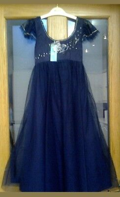 GIRLS MONSOON NAVY BLUE SEQUIN TULLE NET PARTY DRESS AGE 10-11 Years