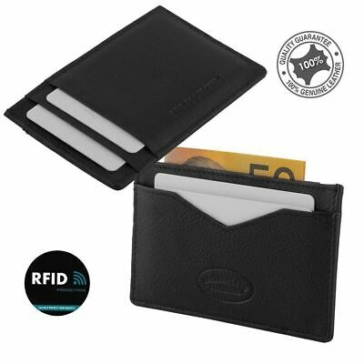 RFID Men's Genuine Premium Leather Slim Credit Card Holder 4 Cards Notes New
