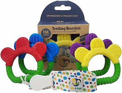 Ike & Leo Teething Toys - Bracelets: Baby Infant and Toddler WITH Pacifier Clip