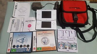 Nintendo DS Lite Case 5 Games Charger Carry Bag Big Brain Sight Dogs Training