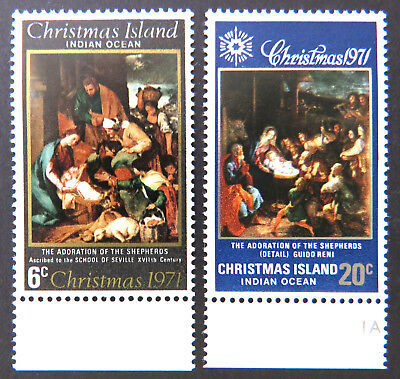 1971 Christmas Island Stamps - Christmas - Adoration Set of 2 - Tabs MNH