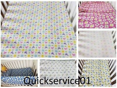 Baby Cot Bedding Set Brushed Cotton 3 Pc, Flat Sheet, Fitted Sheet & Pillowcase