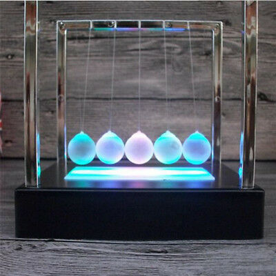 Light Up Newtons Cradle Balance Ball Home Decor Office Science Desk Toy