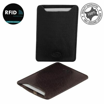 New Genuine Rugged Hide Leather Men's RFID Slim Credit Card Holder Sleeve Wallet