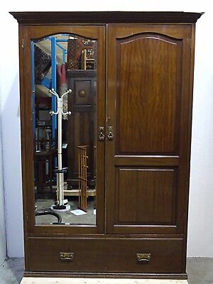 Antique 19th/20th C. Mahogany Double Wardrobe with a Bevelled Mirror (340)