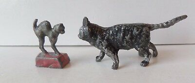 Antique Cold Painted Lead Black Cat Spill Holder & An Arched Back Cat