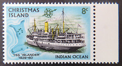1972 Christmas Island Stamps - Sailing Ships Definitives - Single 8c - Tab MNH