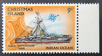1973 Christmas Island Stamps - Sailing Ships Definitives - Single 9c - Tab MNH