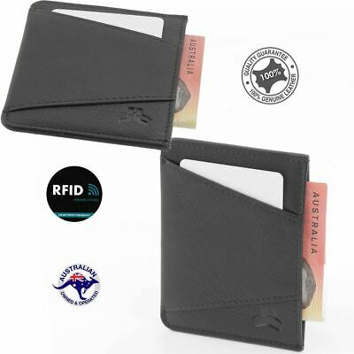 RFID Men's Genuine Premium Leather Slim Credit Card Holder 2 Cards Notes New